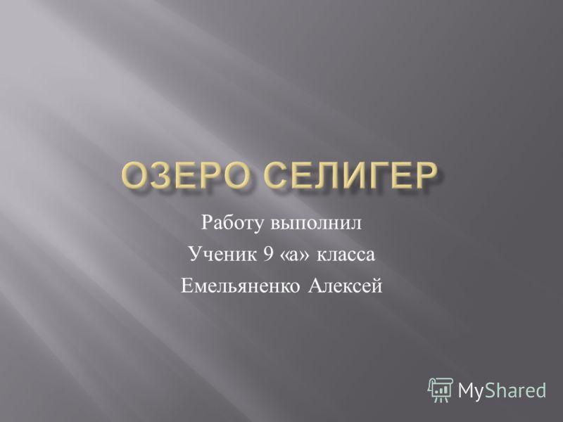 Работу выполнил Ученик 9 « а » класса Емельяненко Алексей