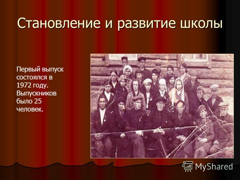 Становление и развитие школы Первый выпуск состоялся в 1972 году. Выпускников было 25 человек.
