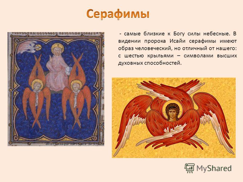- самые близкие к Богу силы небесные. В видении пророка Исайи серафимы имеют образ человеческий, но отличный от нашего: с шестью крыльями – символами высших духовных способностей.