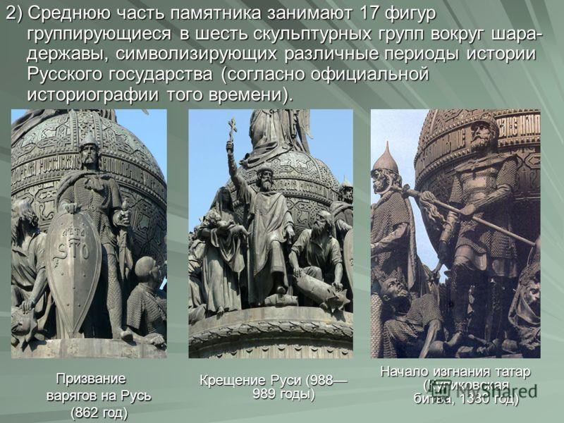 2) Среднюю часть памятника занимают 17 фигур группирующиеся в шесть скульптурных групп вокруг шара- державы, символизирующих различные периоды истории Русского государства (согласно официальной историографии того времени). Призвание варягов на Русь (