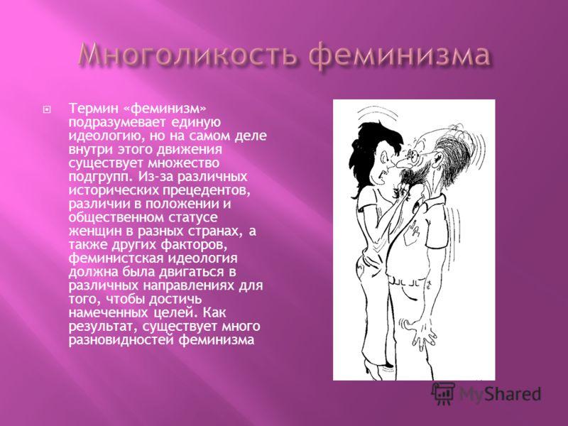 Термин «феминизм» подразумевает единую идеологию, но на самом деле внутри этого движения существует множество подгрупп. Из-за различных исторических прецедентов, различии в положении и общественном статусе женщин в разных странах, а также других факт