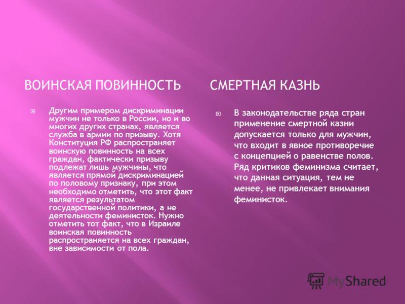 ВОИНСКАЯ ПОВИННОСТЬСМЕРТНАЯ КАЗНЬ Другим примером дискриминации мужчин не только в России, но и во многих других странах, является служба в армии по призыву. Хотя Конституция РФ распространяет воинскую повинность на всех граждан, фактически призыву п
