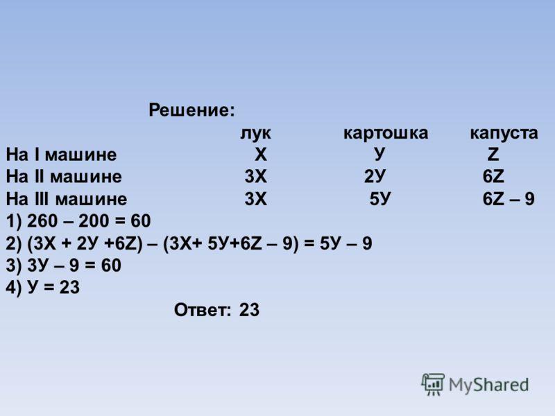 Решение: лук картошка капуста На I машине Х У Z На II машине 3Х 2У 6Z На III машине 3Х 5У 6Z – 9 1) 260 – 200 = 60 2) (3Х + 2У +6Z) – (3Х+ 5У+6Z – 9) = 5У – 9 3) 3У – 9 = 60 4) У = 23 Ответ: 23