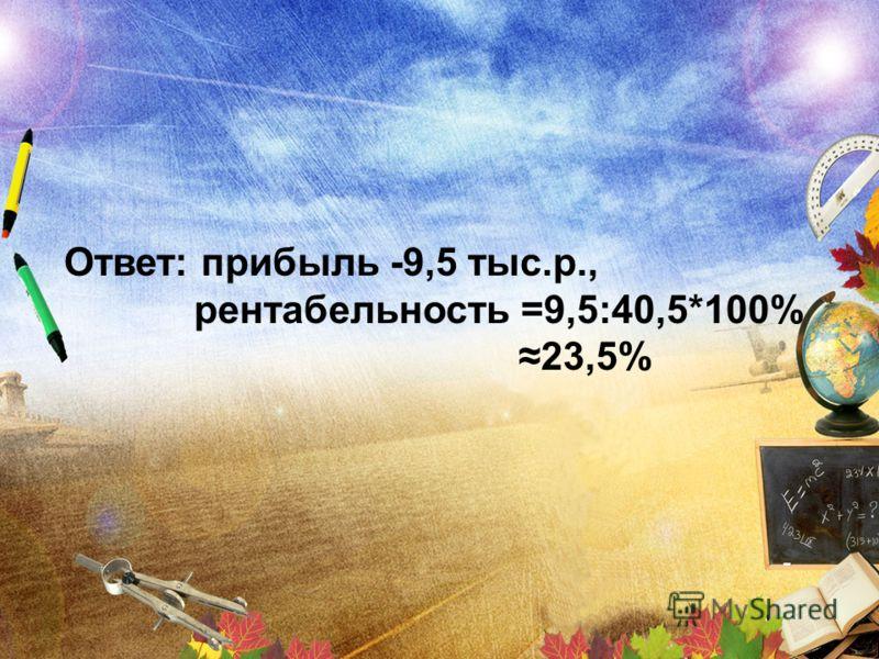 Ответ: прибыль -9,5 тыс.р., рентабельность =9,5:40,5*100% 23,5%