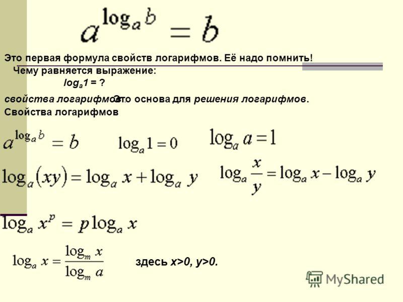 Это первая формула свойств логарифмов. Её надо помнить! Чему равняется выражение: log а 1 = ? свойства логарифмов.Это основа для решения логарифмов. Свойства логарифмов здесь х>0, y>0.