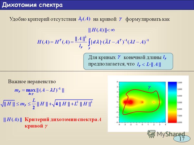 Удобно критерий отсутствия на кривой формулировать как Для кривых конечной длины предполагается, что Важное неравенство Критерий дихотомии спектра кривой Дихотомия спектра 17