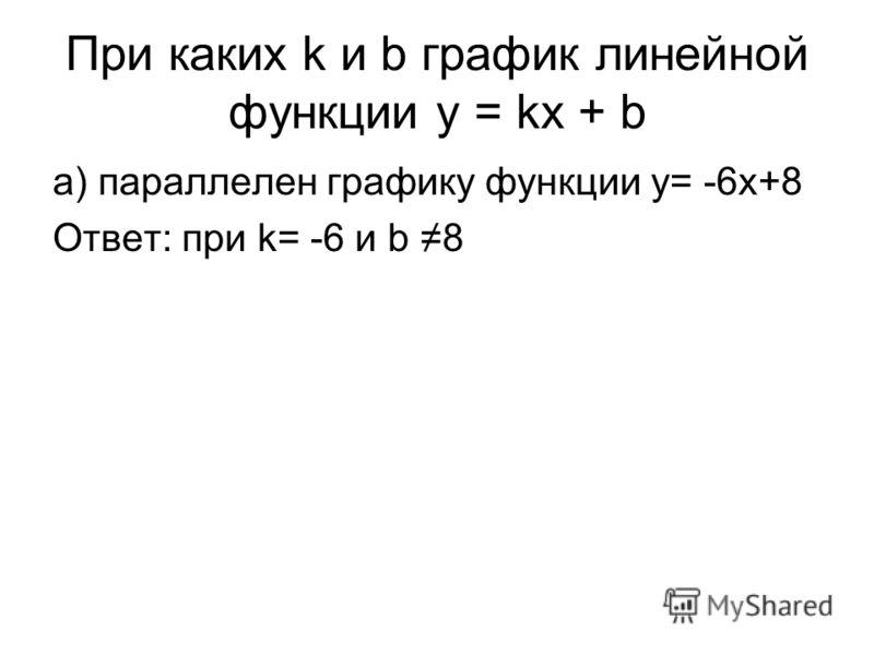 При каких k и b график линейной функции y = kx + b а) параллелен графику функции y= -6x+8 Ответ: при k= -6 и b 8