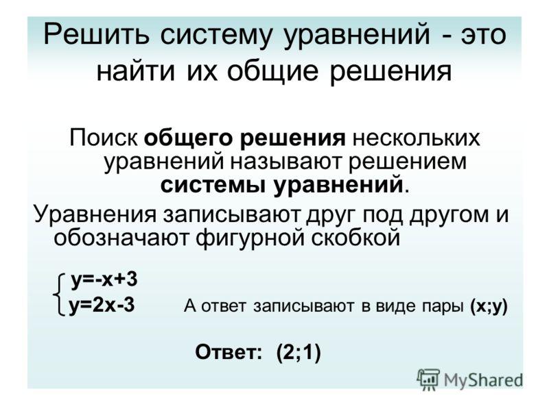 Решить систему уравнений - это найти их общие решения Поиск общего решения нескольких уравнений называют решением системы уравнений. Уравнения записывают друг под другом и обозначают фигурной скобкой y=-x+3 y=2x-3 А ответ записывают в виде пары (x;y)