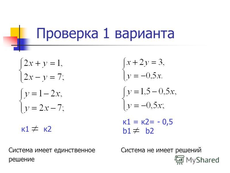 Проверка 1 варианта к1 = к2= - 0,5 b1 b2 Система не имеет решений к1 к2 Система имеет единственное решение