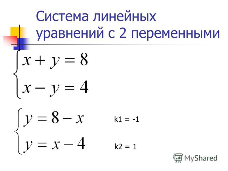 Система линейных уравнений с 2 переменными k1 = -1 k2 = 1