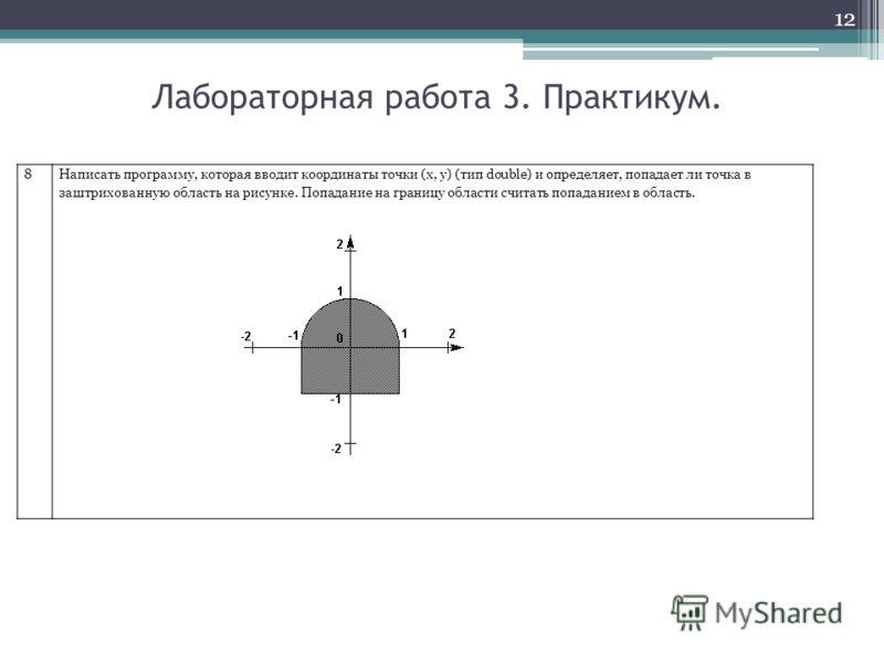 12 Лабораторная работа 3. Практикум. 8Написать программу, которая вводит координаты точки (x, y) (тип double) и определяет, попадает ли точка в заштрихованную область на рисунке. Попадание на границу области считать попаданием в область.