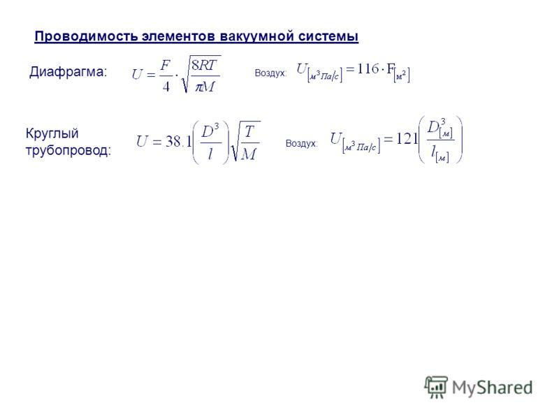 Проводимость элементов вакуумной системы Диафрагма: Круглый трубопровод: Воздух:
