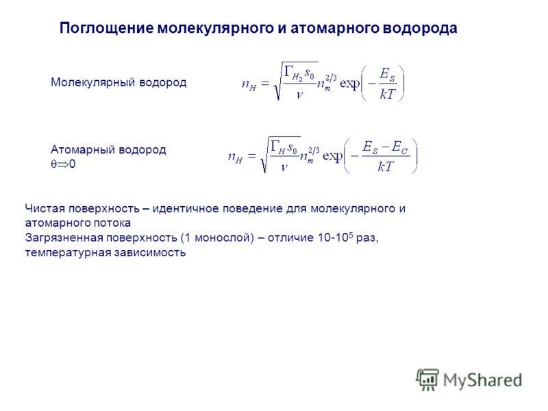 Поглощение молекулярного и атомарного водорода Чистая поверхность – идентичное поведение для молекулярного и атомарного потока Загрязненная поверхность (1 монослой) – отличие 10-10 5 раз, температурная зависимость Молекулярный водород Атомарный водор