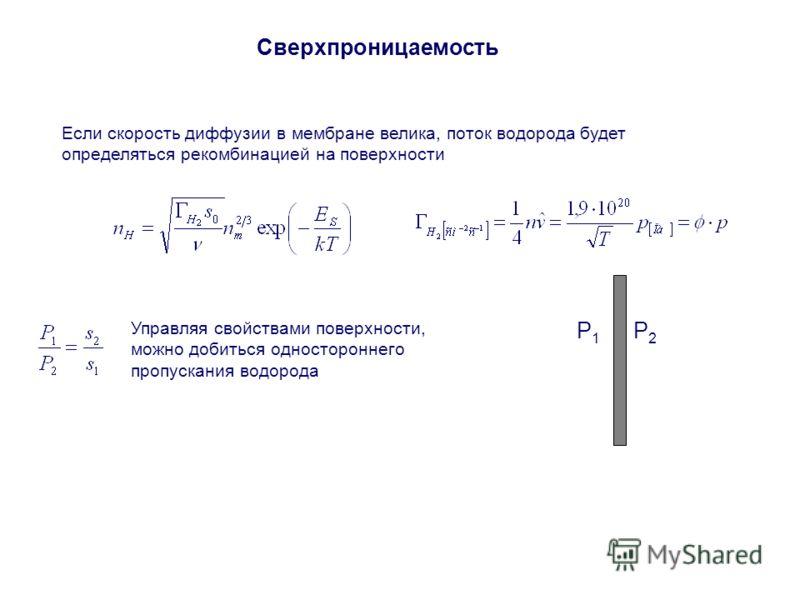 Сверхпроницаемость Если скорость диффузии в мембране велика, поток водорода будет определяться рекомбинацией на поверхности P1P1 P2P2 Управляя свойствами поверхности, можно добиться одностороннего пропускания водорода
