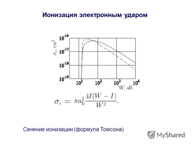 Ионизация электронным ударом Сечение ионизации (формула Томсона)