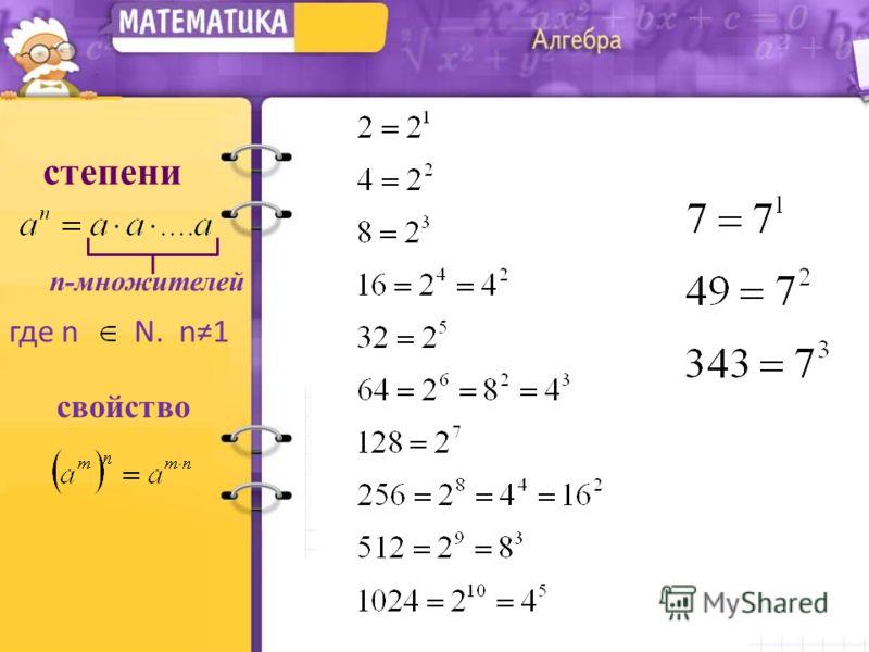 степени n-множителей где n N. n1 свойство
