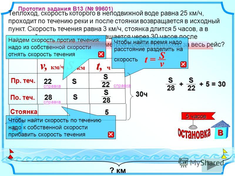 Стоянка 5 ? км В Теплоход, скорость которого в неподвижной воде равна 25 км/ч, проходит по течению реки и после стоянки возвращается в исходный пункт. Скорость течения равна 3 км/ч, стоянка длится 5 часов, а в исходный пункт теплоход возвращается чер