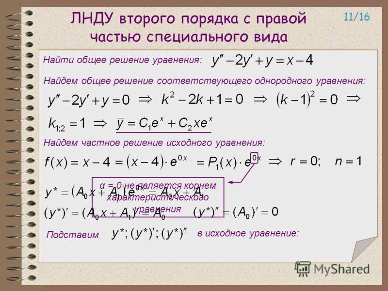 ЛНДУ второго порядка с правой частью специального вида 11/16 Найти общее решение уравнения: Найдем общее решение соответствующего однородного уравнения: Найдем частное решение исходного уравнения: α = 0 не является корнем характеристического уравнени