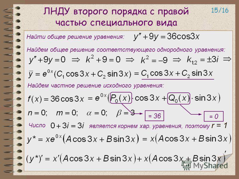 ЛНДУ второго порядка с правой частью специального вида 15/16 Найти общее решение уравнения: Найдем общее решение соответствующего однородного уравнения: Найдем частное решение исходного уравнения: Число является корнем хар. уравнения, поэтому r = 1 =