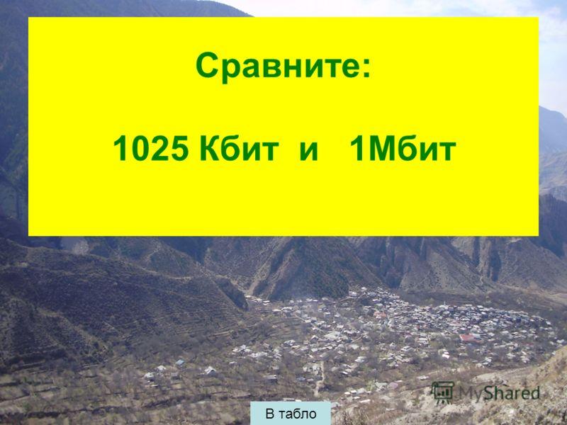 Сравните: 1025 Кбит и 1Мбит В табло