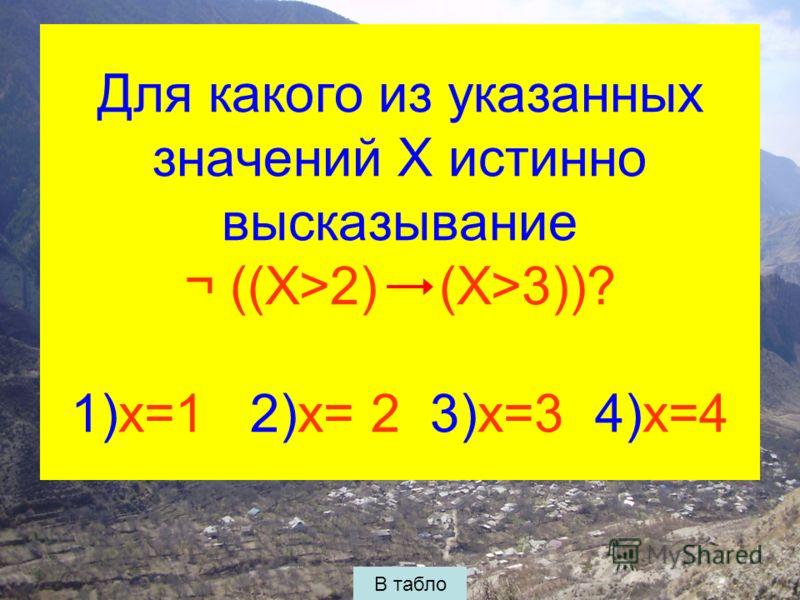 Для какого из указанных значений X истинно высказывание ¬ ((X>2) (X>3))? 1)x=1 2)x= 2 3)x=3 4)x=4 В табло