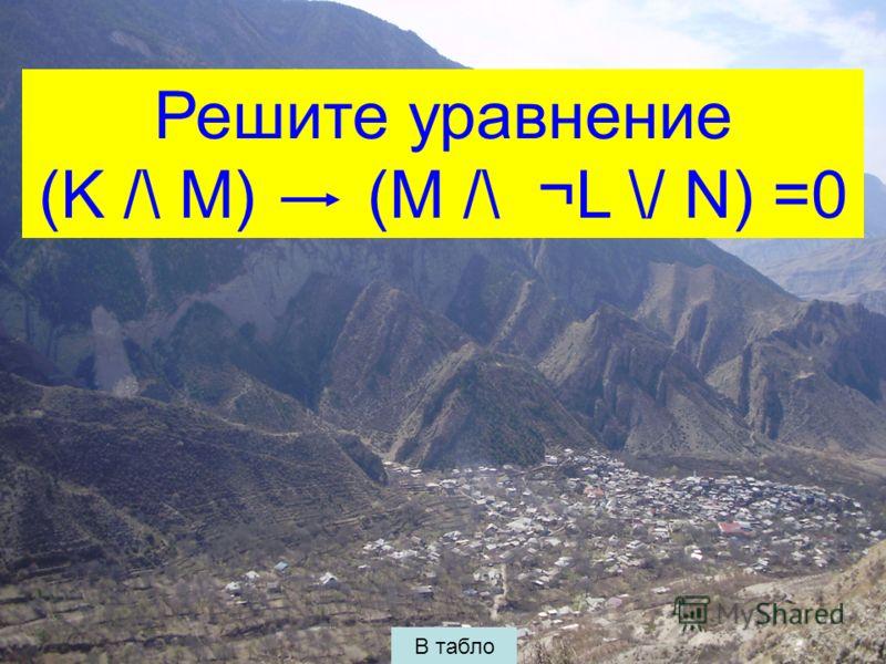 Решите уравнение (K /\ M) (M /\ ¬L \/ N) =0 В табло