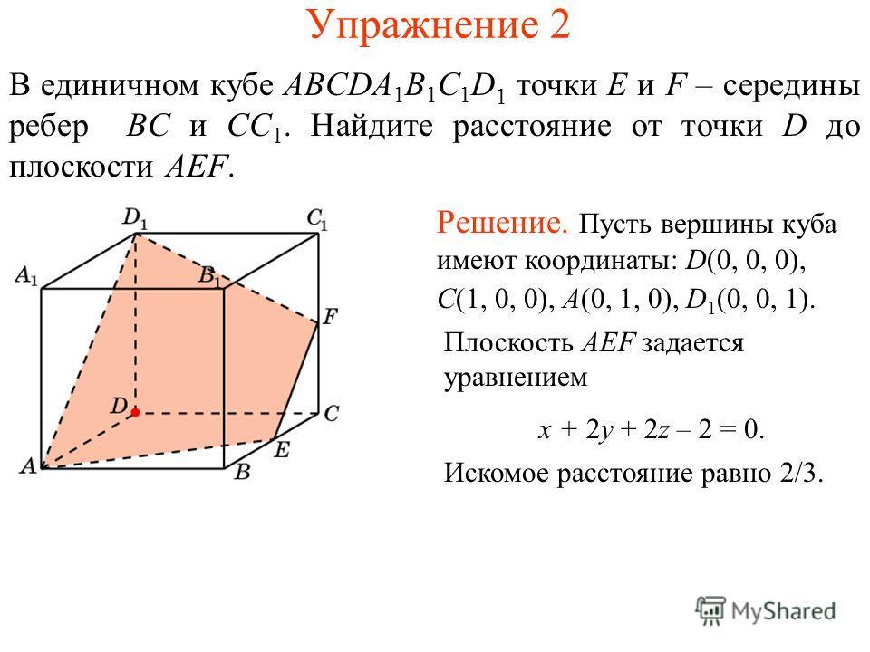 Упражнение 2 В единичном кубе ABCDA 1 B 1 C 1 D 1 точки E и F – середины ребер BC и CC 1. Найдите расстояние от точки D до плоскости AEF. Решение. Пусть вершины куба имеют координаты: D(0, 0, 0), C(1, 0, 0), A(0, 1, 0), D 1 (0, 0, 1). Плоскость AEF з