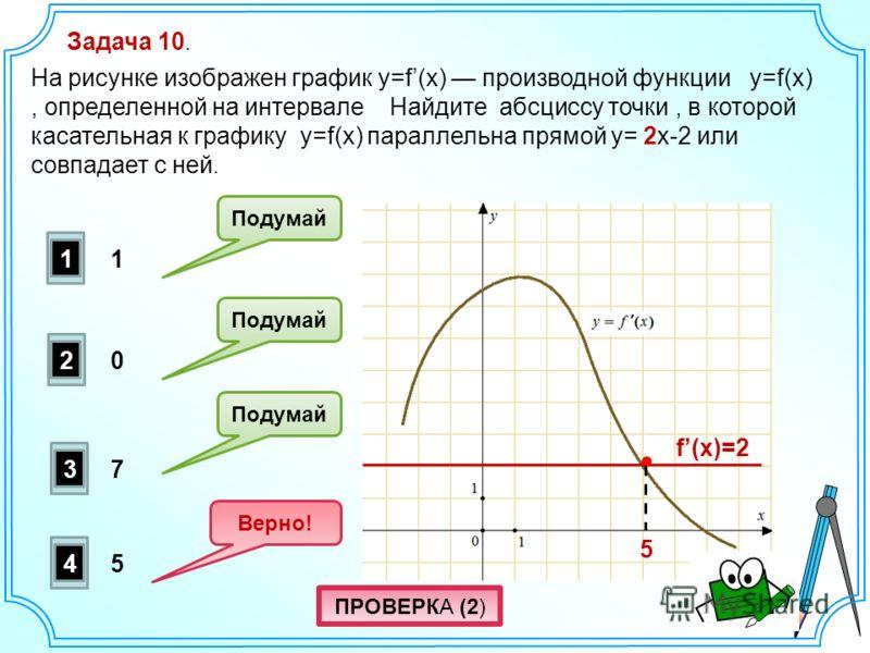 Задача 10. На рисунке изображен график y=f(x) производной функции y=f(x), определенной на интервале Найдите абсциссу точки, в которой касательная к графику y=f(x) параллельна прямой y= 2x-2 или совпадает с ней. 2 1 3 4 Подумай Верно! Подумай 5 7 0 1