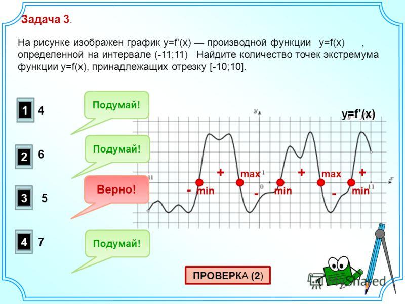 Задача 3. На рисунке изображен график y=f(x) производной функции y=f(x), определенной на интервале (-11;11) Найдите количество точек экстремума функции y=f(x), принадлежащих отрезку [-10;10]. ПРОВЕРКА (2) +++ - - - max min y=f(x) 1 2 3 4 Подумай! Вер