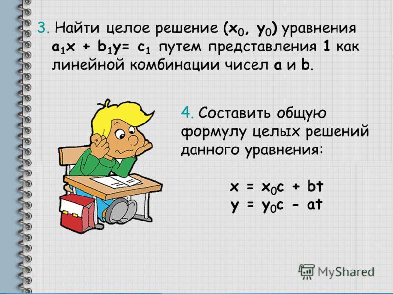 3. Найти целое решение (x 0, y 0 ) уравнения a 1 x + b 1 y= c 1 путем представления 1 как линейной комбинации чисел a и b. 4. Составить общую формулу целых решений данного уравнения: x = x 0 c + bt y = y 0 c - at