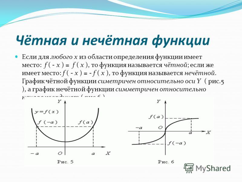 Чётная и нечётная функции Если для любого x из области определения функции имеет место: f ( - x ) = f ( x ), то функция называется чётной; если же имеет место: f ( - x ) = - f ( x ), то функция называется нечётной. График чётной функции симетричен от