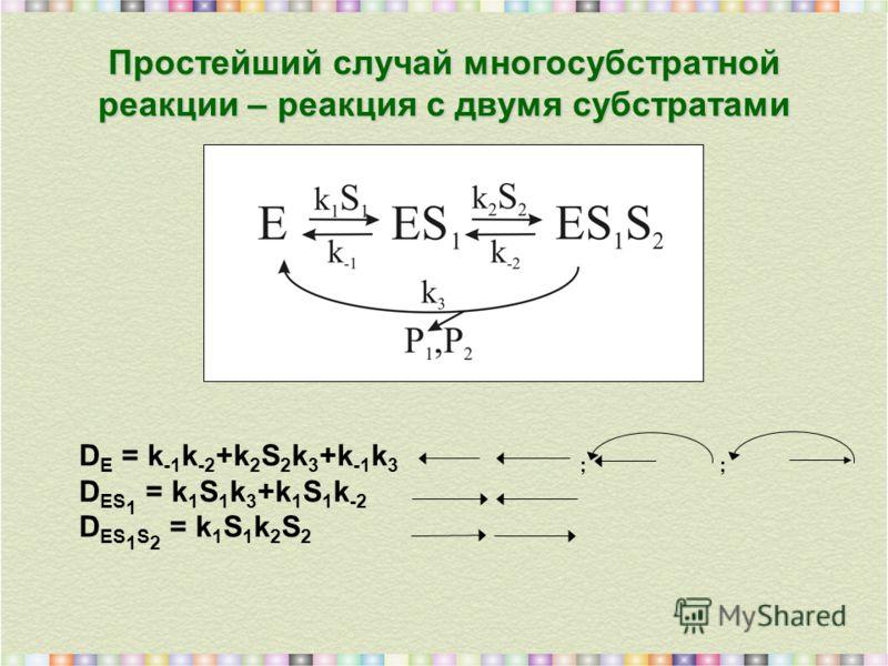 Простейший случай многосубстратной реакции – реакция с двумя субстратами D E = k -1 k -2 +k 2 S 2 k 3 +k -1 k 3 ; ; D ES 1 = k 1 S 1 k 3 +k 1 S 1 k -2 D ES 1 S 2 = k 1 S 1 k 2 S 2