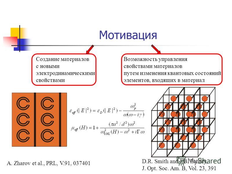Мотивация Создание материалов с новыми электродинамическими свойствами Возможность управления свойствами материалов путем изменения квантовых состояний элементов, входящих в материал A. Zharov et al., PRL, V.91, 037401 D.R. Smith and J.B. Pendry, J.