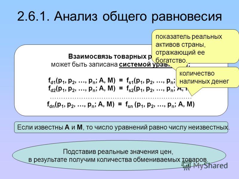 Если известны А и М, то число уравнений равно числу неизвестных. Подставив реальные значения цен, в результате получим количества обмениваемых товаров. Взаимосвязь товарных рынков может быть записана системой уравнений: f d1 (p 1, p 2, …, p n ; A, M)