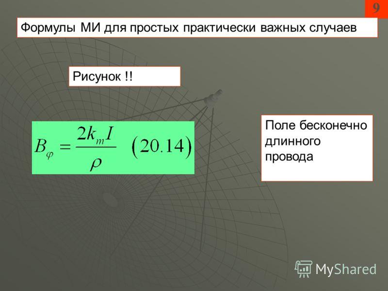 9 Формулы МИ для простых практически важных случаев Поле бесконечно длинного провода Рисунок !!