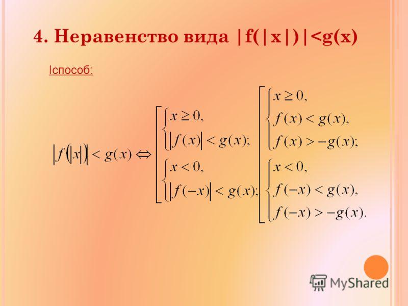 4. Неравенство вида |f(|x|)|