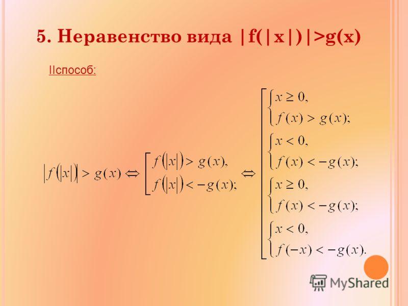 IIспособ: 5. Неравенство вида |f(|x|)|>g(x)