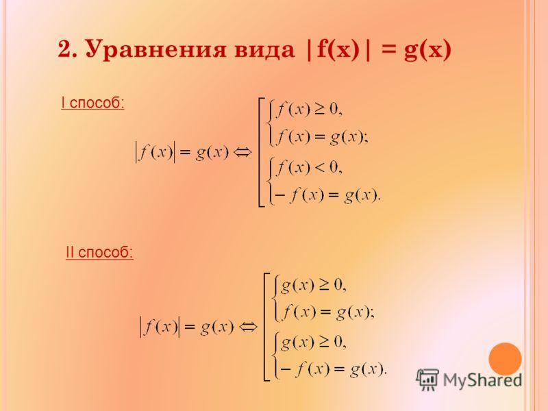 2. Уравнения вида |f(x)| = g(x) I способ: II способ: