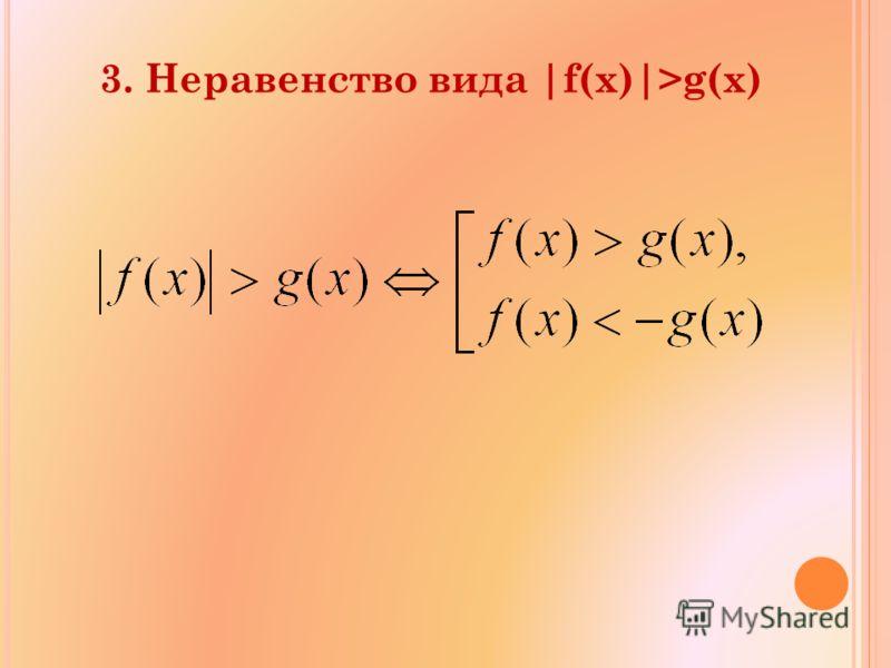 3. Неравенство вида |f(x)|>g(x)