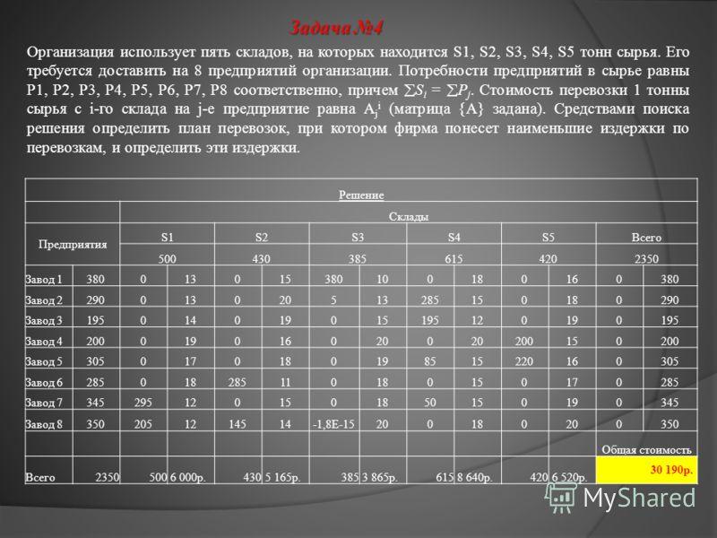 Задача 4 Организация использует пять складов, на которых находится S1, S2, S3, S4, S5 тонн сырья. Его требуется доставить на 8 предприятий организации. Потребности предприятий в сырье равны P1, P2, P3, P4, P5, P6, P7, P8 соответственно, причем S i =