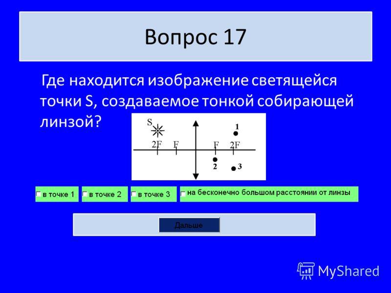 Вопрос 17 Где находится изображение светящейся точки S, создаваемое тонкой собирающей линзой?