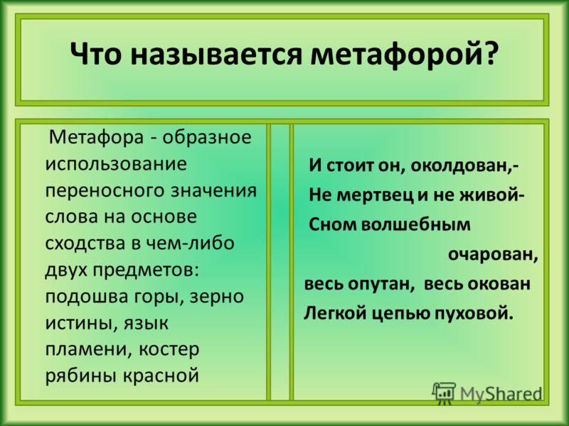 Что называется метафорой? Метафора - образное использование переносного значения слова на основе сходства в чем-либо двух предметов: подошва горы, зерно истины, язык пламени, костер рябины красной И стоит он, околдован,- Не мертвец и не живой- Сном в