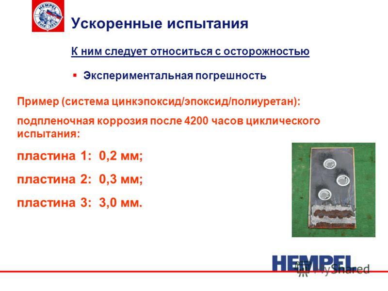 Ускоренные испытания Экспериментальная погрешность К ним следует относиться с осторожностью Пример (система цинкэпоксид/эпоксид/полиуретан): подпленочная коррозия после 4200 часов циклического испытания: пластина 1: 0,2 мм; пластина 2: 0,3 мм; пласти