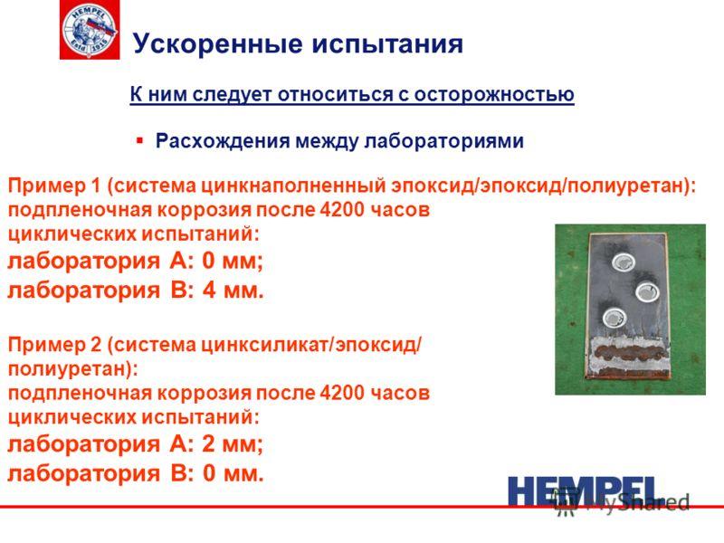 Ускоренные испытания Расхождения между лабораториями Пример 1 (система цинкнаполненный эпоксид/эпоксид/полиуретан): подпленочная коррозия после 4200 часов циклических испытаний: лаборатория A: 0 мм; лаборатория B: 4 мм. Пример 2 (система цинксиликат/