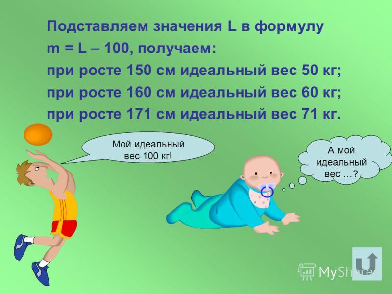 Одна из формул, рекомендующих «идеальную» массу человека m выраженную в килограммах, при данном его росте L (в сантиметрах) имеет вид m = L – 100. Найдите идеальную массу при росте 150,160, 171 см. Решение задачи.