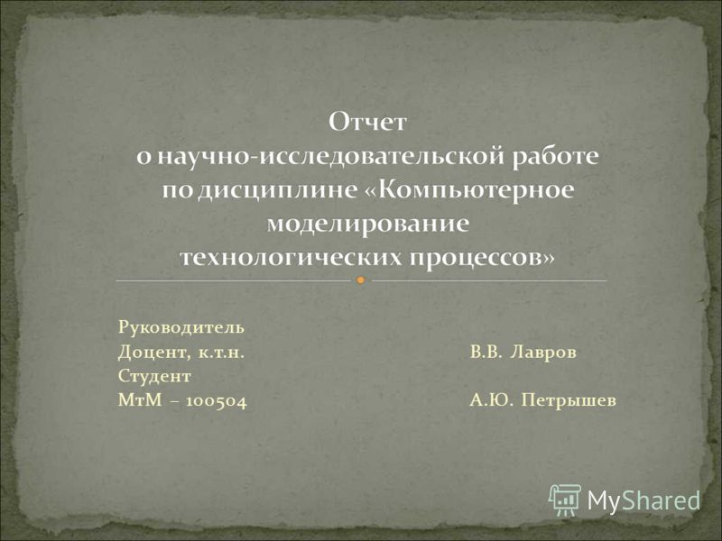 Руководитель Доцент, к.т.н. В.В. Лавров Студент МтМ – 100504 А.Ю. Петрышев