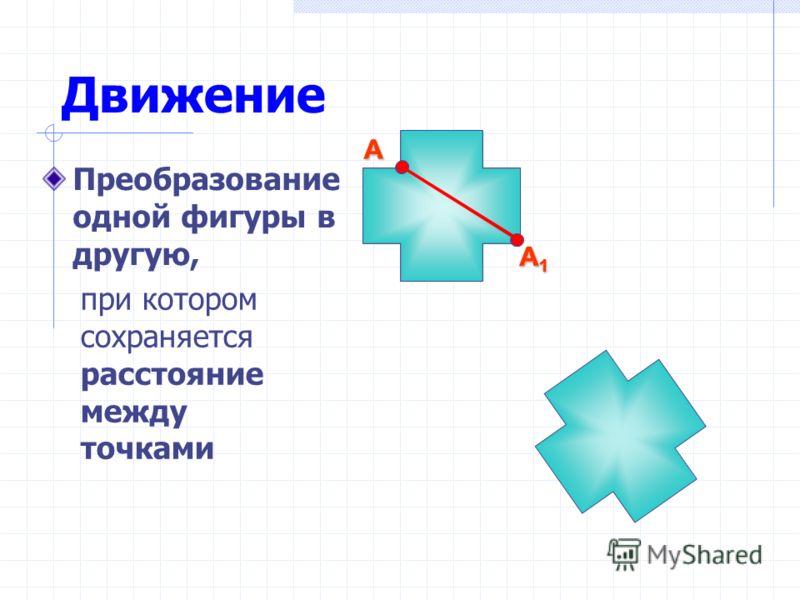 Движение Преобразование одной фигуры в другую, А1А1А1А1 А А1А1А1А1 А при котором сохраняется расстояние между точками