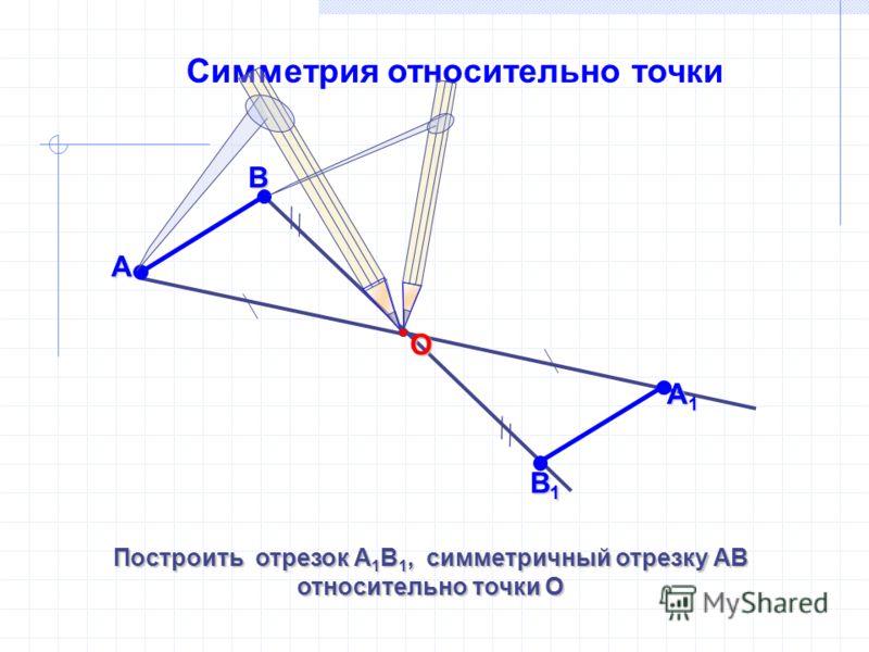 Симметрия относительно точки Построить отрезок А 1 В 1, симметричный отрезку АВ относительно точки О АВ А1А1А1А1 О В1В1В1В1