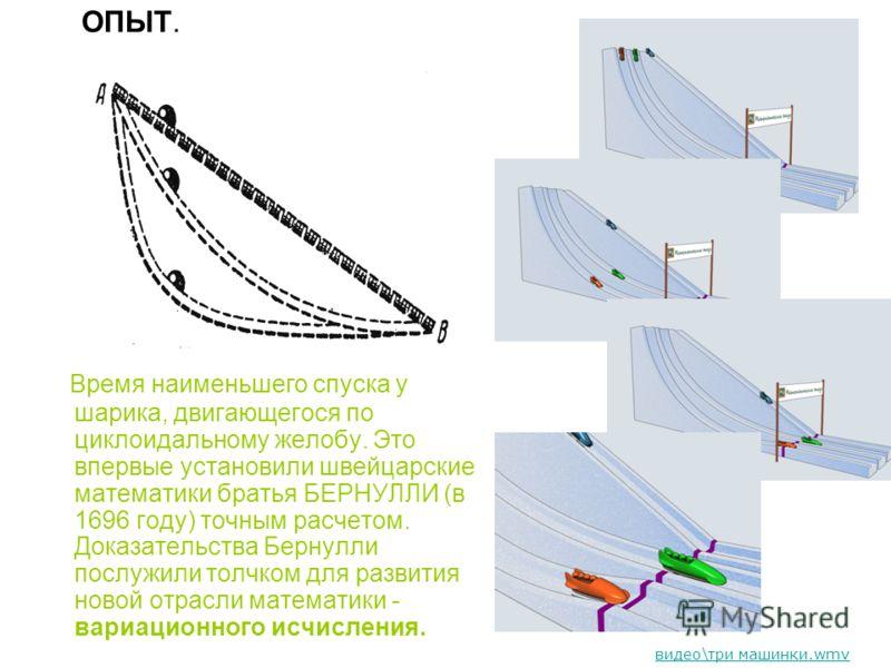 ОПЫТ. Время наименьшего спуска у шарика, двигающегося по циклоидальному желобу. Это впервые установили швейцарские математики братья БЕРНУЛЛИ (в 1696 году) точным расчетом. Доказательства Бернулли послужили толчком для развития новой отрасли математи