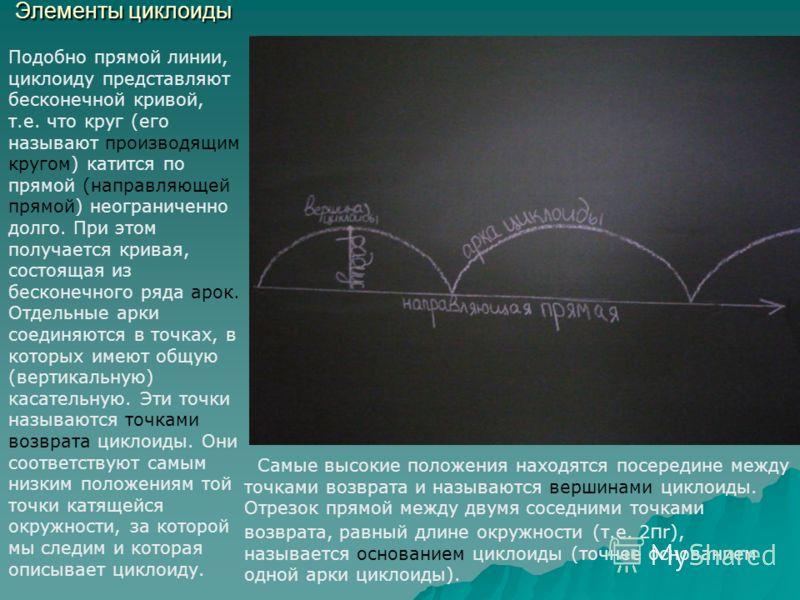 Элементы циклоиды Самые высокие положения находятся посередине между точками возврата и называются вершинами циклоиды. Отрезок прямой между двумя соседними точками возврата, равный длине окружности (т.е. 2 π r), называется основанием циклоиды (точнее